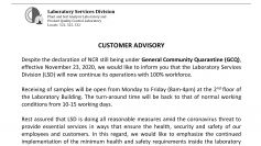 PCA Laboratory Services Division Customer Advisory