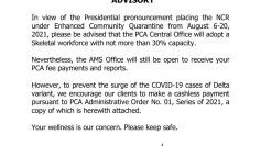 Customer Advisory from AMS for August 2021