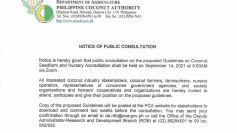 Public Consultation on the Proposed Guidelines on Coconut Seedfarm and Nursery Accreditation